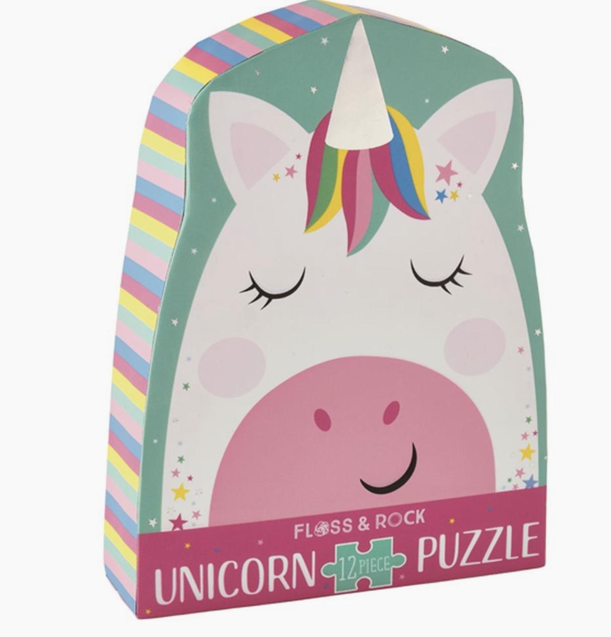 Rainbow Unicorn 12pc Shaped Jigsaw Shaped Box