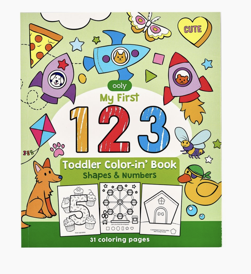 123: Shapes And Numbers Coloring Book