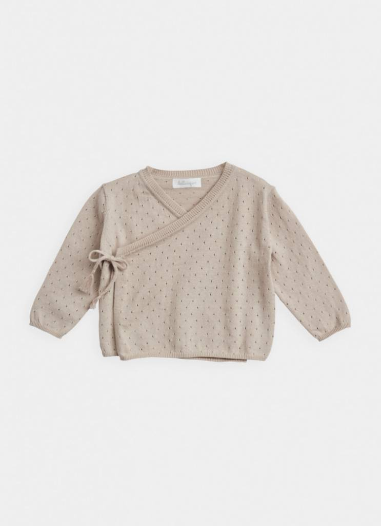 BELLE ENFANT Cotton Pointelle Wrap Top