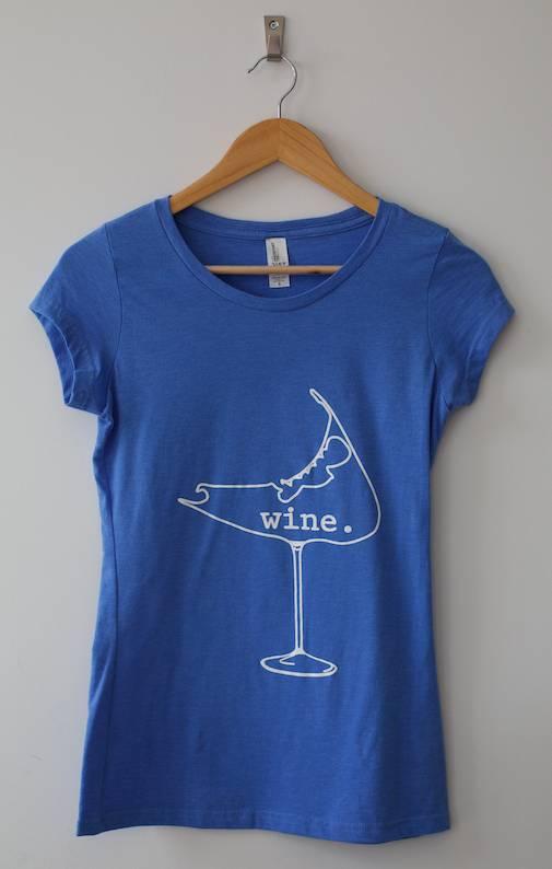 wine. glass Tee Shirt (Blue) Ladies