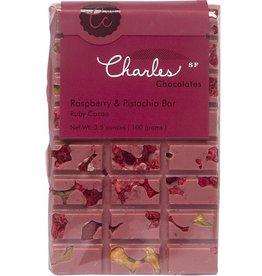 Charles Chocolates Ruby Chocolate Raspberry & Pistachio Bar 3.5 oz