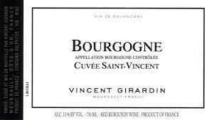 """Vincent Girardin Bourgogne Rouge """"Cuvée Saint-Vincent"""" 2018 - 750ml"""