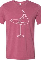 wine. glass Tee Shirt (Raspberry) Ladies