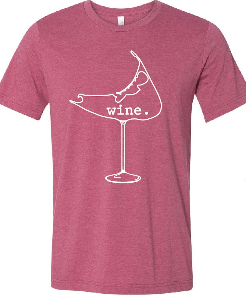 wine. glass Tee Shirt (Raspberry) Mens