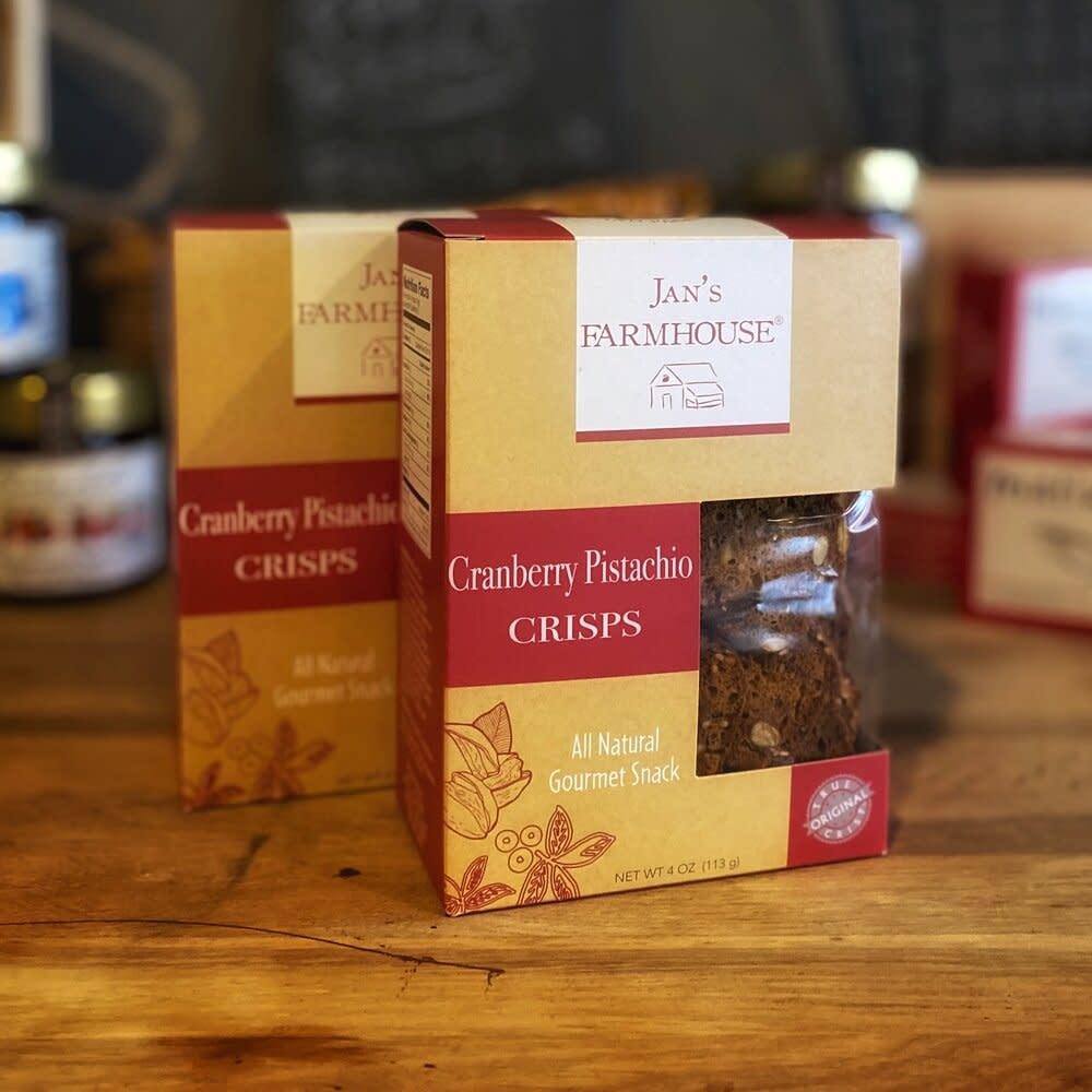 Jan's Farmhouse Cranberry Pistachio Crisps 4 oz