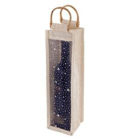 TRUE Starry Night Jute Wine Bottle Bag