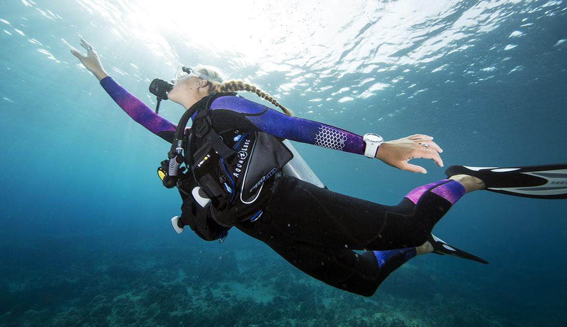 free like a bird underwater scuba diver