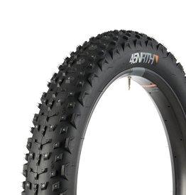 "45NRTH 45NRTH Dillinger 4 Studded Fat Bike Tire: 26 x 4.0"", 240 Steel Carbide Studs, Tubeless Ready Folding, 60tpi, Black"