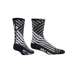 Wolf Tooth - Sock Guy Wool Wolf Tooth Grid Pattern Socks - L/XL - Black/White