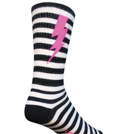 SockGuy SockGuy Wool Lightning Socks - 8 inch, Black/White, Small/Medium