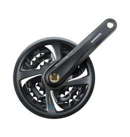 Shimano Shimano Tourney TX801 6/7/8-Speed 170mm 22/32/42t Square Crankset with Chainguard, Black