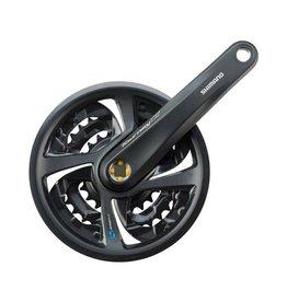 Shimano Shimano Tourney TX801 6/7/8-Speed 170mm 22/32/42t Square Crankset with Chainguard, Black