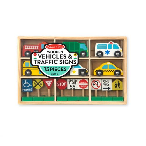 Toys & Games Melissa & Doug Wooden Vehicles and Traffic Signs
