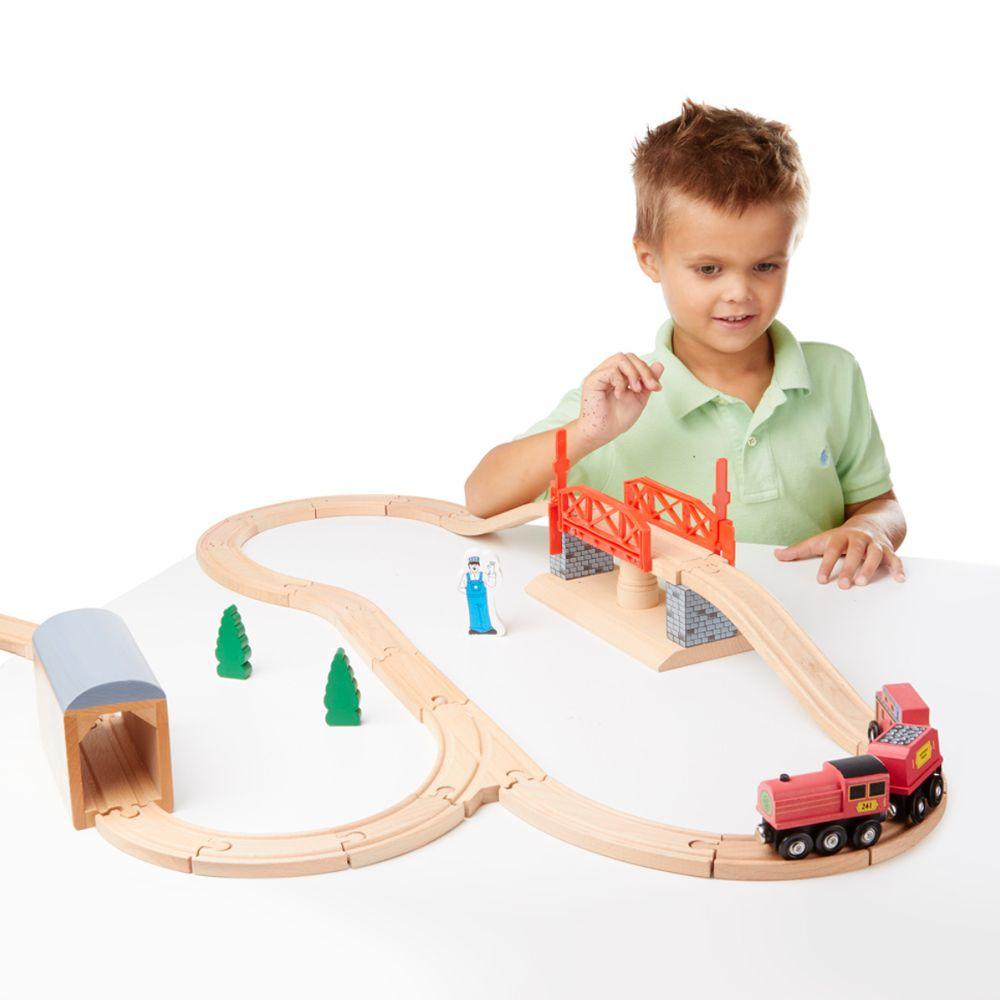 Toys Games Melissa Doug Swivel Bridge Train Set