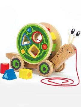 Toys & Games AWARD WINNING! Walk-A-Long Snail Wooden Pull Toy & Shape Sorter