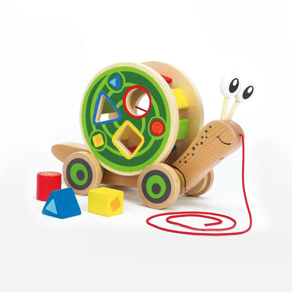 Toys & Games AWARD WINNING! Walk-A-Long Snail Wooden Pull Toy & Shape Sorter
