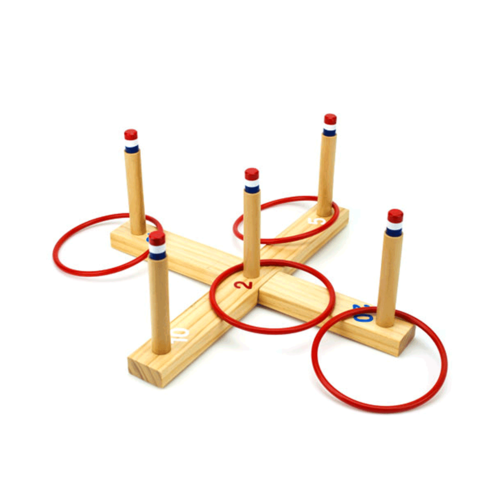 Toys & Games Ring Toss Game - Classic Wooden Set with 4 Rings