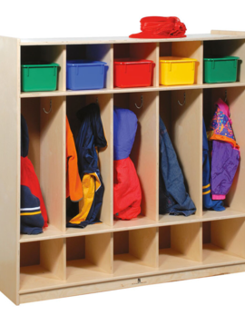Special Order Angeles Wood 5-Section Toddler Coat Locker for School, Clinic or Home