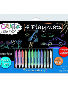 "Classroom Aid Wonder Stix 12"" x 17"" Write & Wipe Placemat Kits: Makes studying & eating at home fun again!"