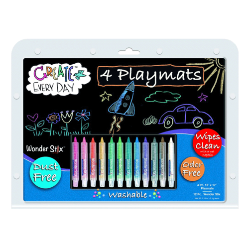 """Classroom Aid Wonder Stix 12"""" x 17"""" Write & Wipe Placemat Kits: Makes studying & eating at home fun again!"""