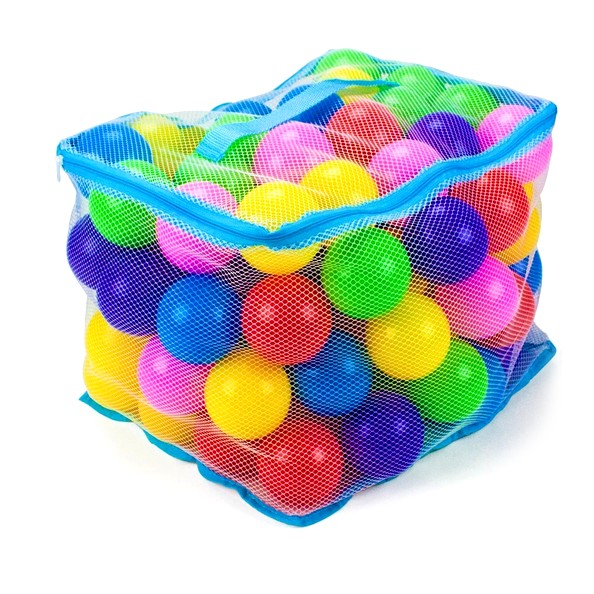 "Toys & Games 100 Jumbo 3"" Multi-Colored Soft Ball Pit Balls with Mesh Carry Case"