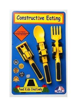 SENSORY Constructive Eating Set or 3 Construction Utensils. 1 Fork Lift Fork, 1-Bull Dozer Pusher, 1-Front Loader Spoon