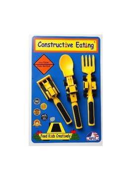 SENSORY Constructive Eating Set or 3 Construction Utensils. 1 Fork Lift Fork, 1-Bull Dozer Pusher, 1-Front Loader Spoon
