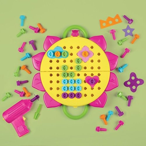Toys & Games Educational Insights Design & Drill Flower Power Studio, 70 Piece Set , Perfect for Kids Ages 3+