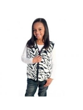 Sensory Clothing Kid's Zebra Faux Fur Weighted Vest with Shoulder Weights