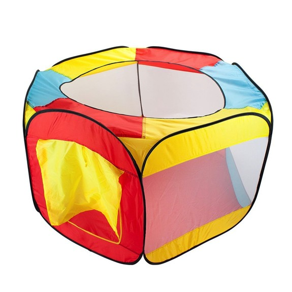 Toys & Games Hexagon Pop Up Ball Pit Tent with Mesh Netting and Carrying Case