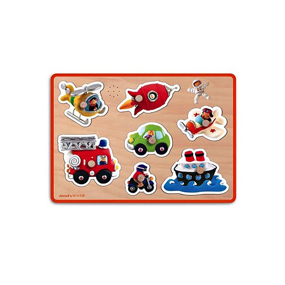 Toys & Games Janod Fleurus Vehicles Sound Puzzle