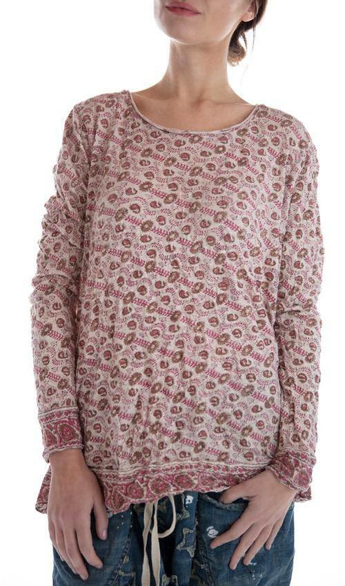 Cotton Jersey Hand Block Print Dylan T, Magnolia Pearl
