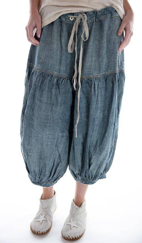 Cotton Denim Coronado Bloomers with Gathered Legs, Drawstring Waist and Distressing, Magnolia Pearl