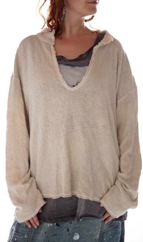 Woven Cotton Tory Pullover with Raw Edges, Magnolia Pearl