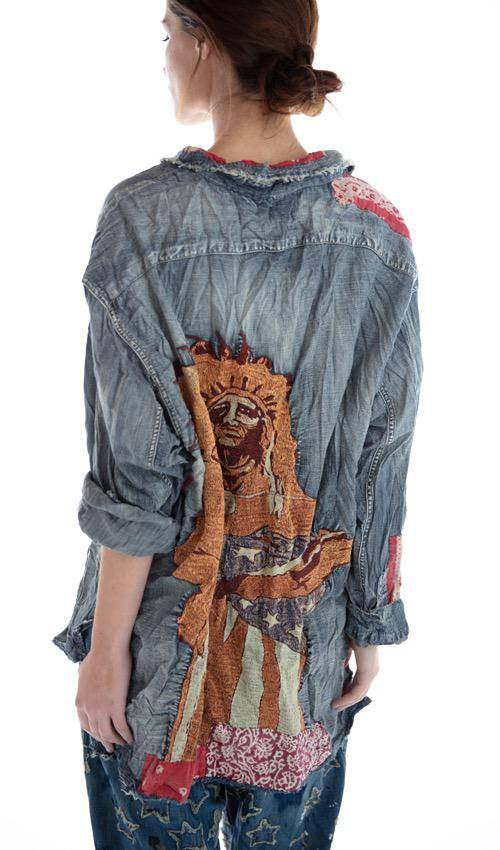 Cotton Denim American Indian Embroidered Adison Workshirt with Mixed Buttons, Patches and Hand Mending, Magnolia Pearl