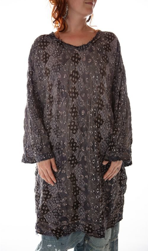 European Cotton Oversized Patchwork Francis Pullover, Magnolia Pearl