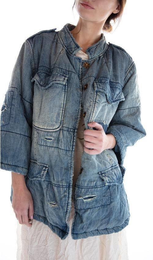 Cotton and Denim Love Militia Puff Jacket with Fading, Distressing, Mending, Pockets and Snaps, Magnolia Pearl