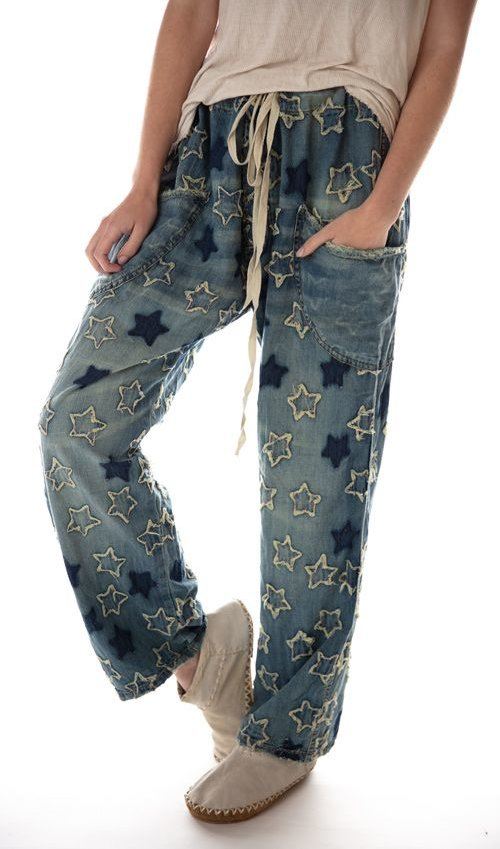 Cotton OKeefe Denims with Handstitched Star Applique, Mending, Distressing and Patching, Button Fly and Drawstring Waist Magnolia Pearl
