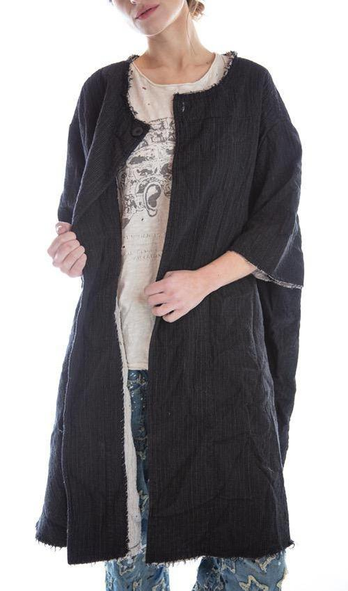 Quilted Fine Wool Kimi Coat with Raw Edges, Snap Closures and Cotton Lining, Magnolia Pearl