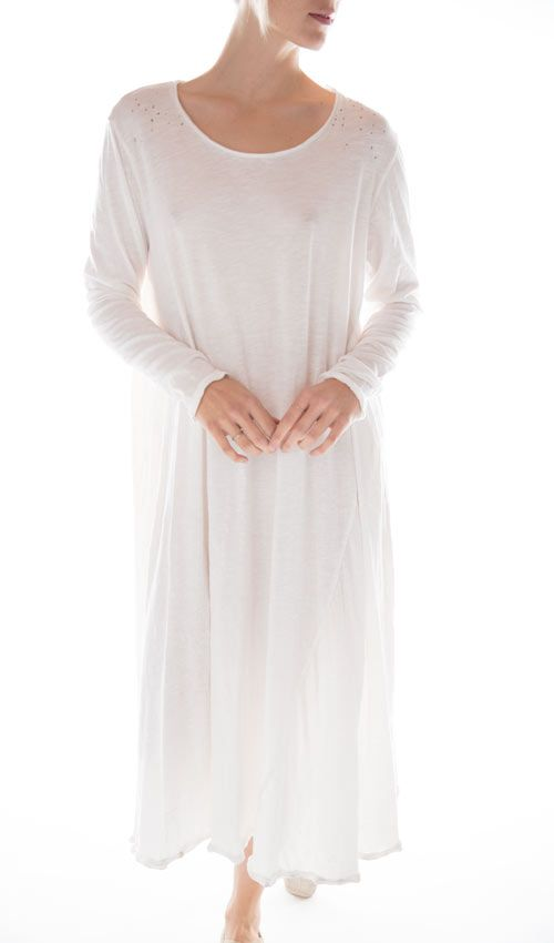 Cotton Jersey T Dress with Long Sleeves, Magnolia Pearl