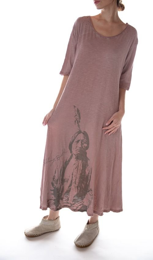 Cotton Jersey Sitting Bull Preston T Dress, Magnolia Pearl