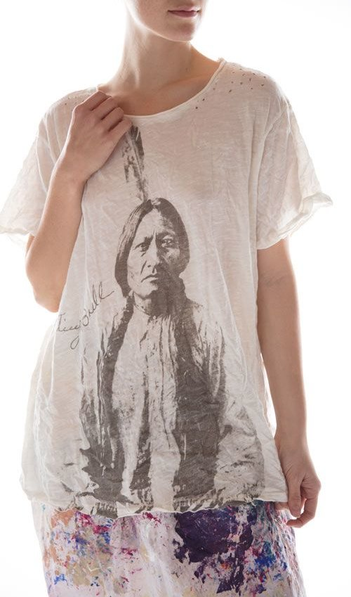 Cotton Jersey Sitting Bull T, New Boyfriend Cut, Magnolia Pearl