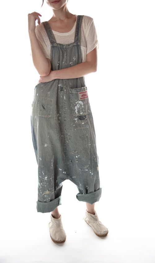 Cotton Denim Gus Overalls with Hand Aging, Distressing and Mending,  Adjustable Button Straps, Magnolia Pearl