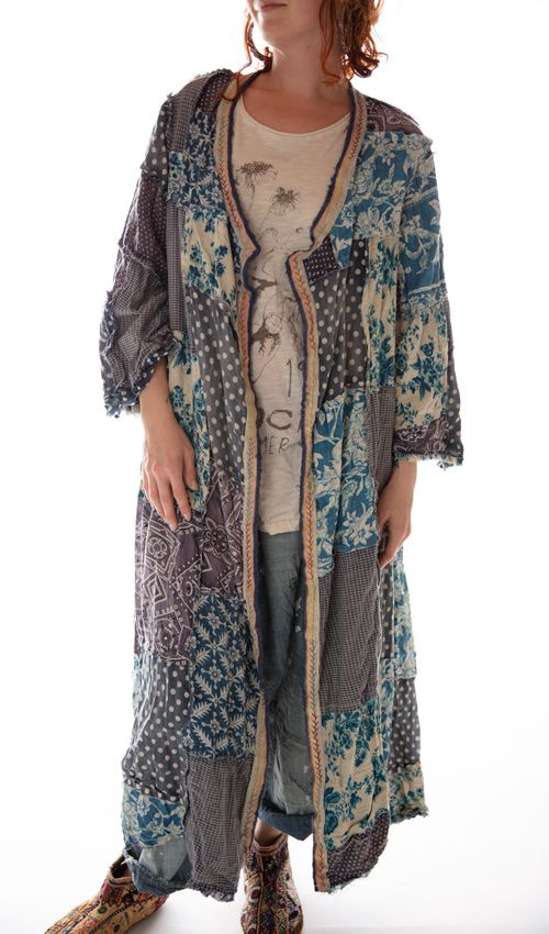 Cotton Calico Patchwork Emporium Coat with Sunfading, Distressing, Raw Seams and Hand Stitched Trim, Magnolia Pearl