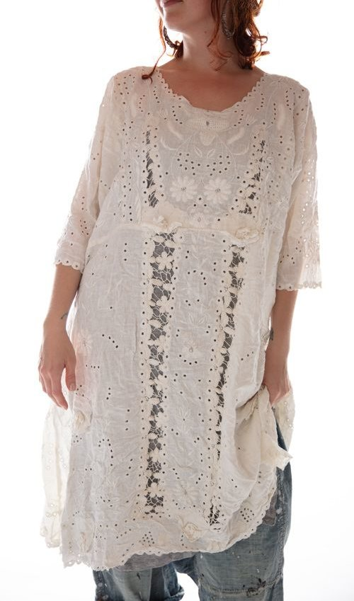 French Linen Coronado Dress with Embroidery and Scalloped Edging, Magnolia Pearl