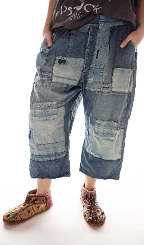 Cotton Denim Cropped Kaiis Pierre Trousers with Side Buttons, Patching, Mending and Distressing, Magnolia Pearl