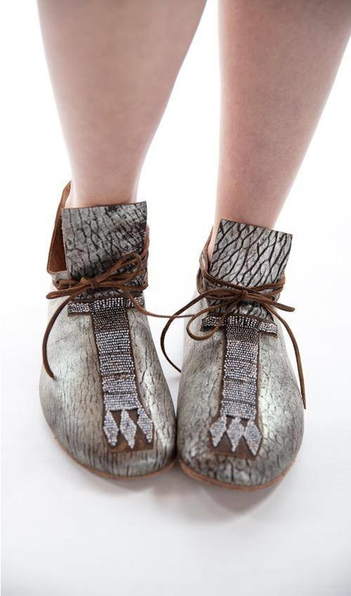 Sueded All Leather Sitting Bull Moccassins with Hand Aging, Hand Beaded Detail, Adjustable Leather Ties and Antiqued Crepe Soles, Magnolia Pearl