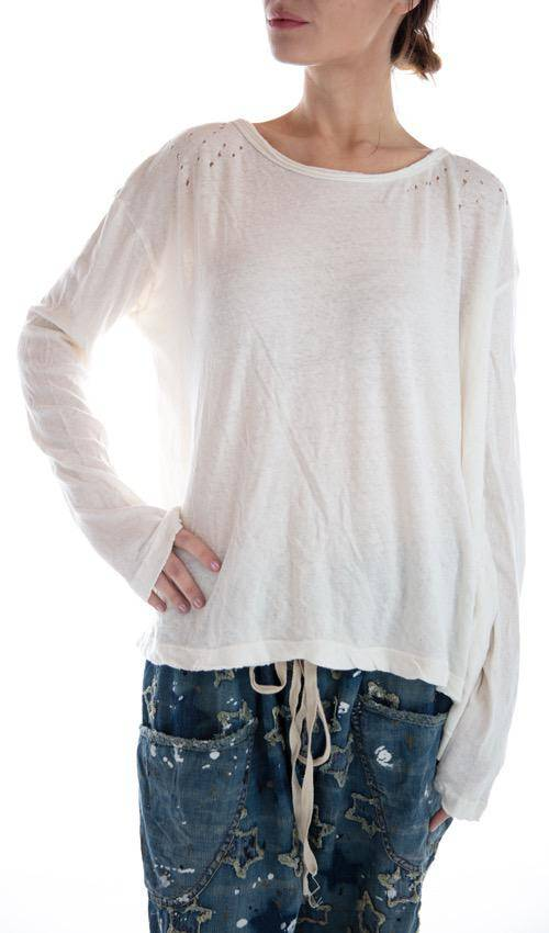 Cotton Linen Jersey Zoe Oversized Long Sleeve T, Magnolia Pearl