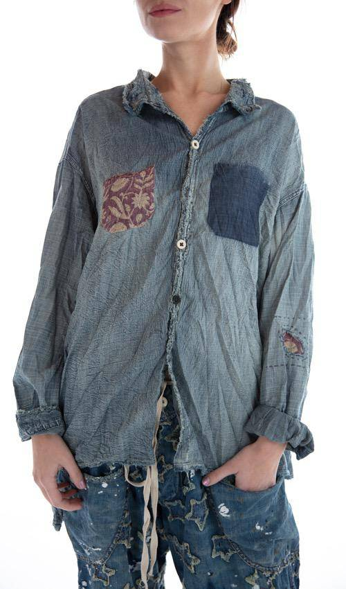 Cotton Denim Embroidered Woodstock Adison Workshirt with Mixed Buttons, Distressing, Patching and Hand Mending, Magnolia Pearl