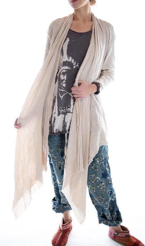 Cotton Jacquard Karesa Cardigan with Pockets and Raw Edges, Magnolia Pearl